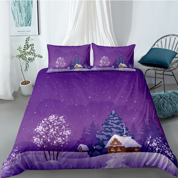Chalet Bedding Set Christmas Fashionable Snowing Day Duvet Cover For Kids King Queen Twin Full Single Double Comfortable Bed Set