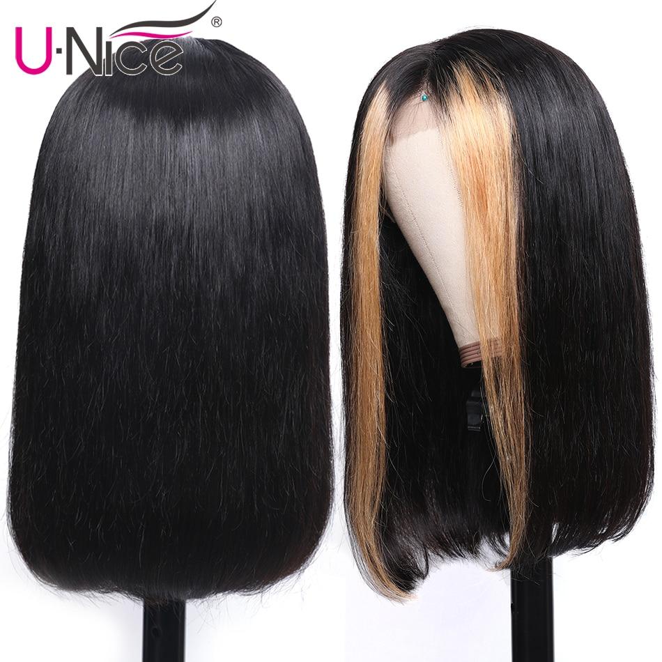 "H8521d8da105e42889e661fe5bf750e8ar Unice Hair 13x4 Highlight Lace Front Human Hair Wigs 8-24"" Brazilian straight Hair Wigs Remy Human Hair Wigs Half Up Half Down"