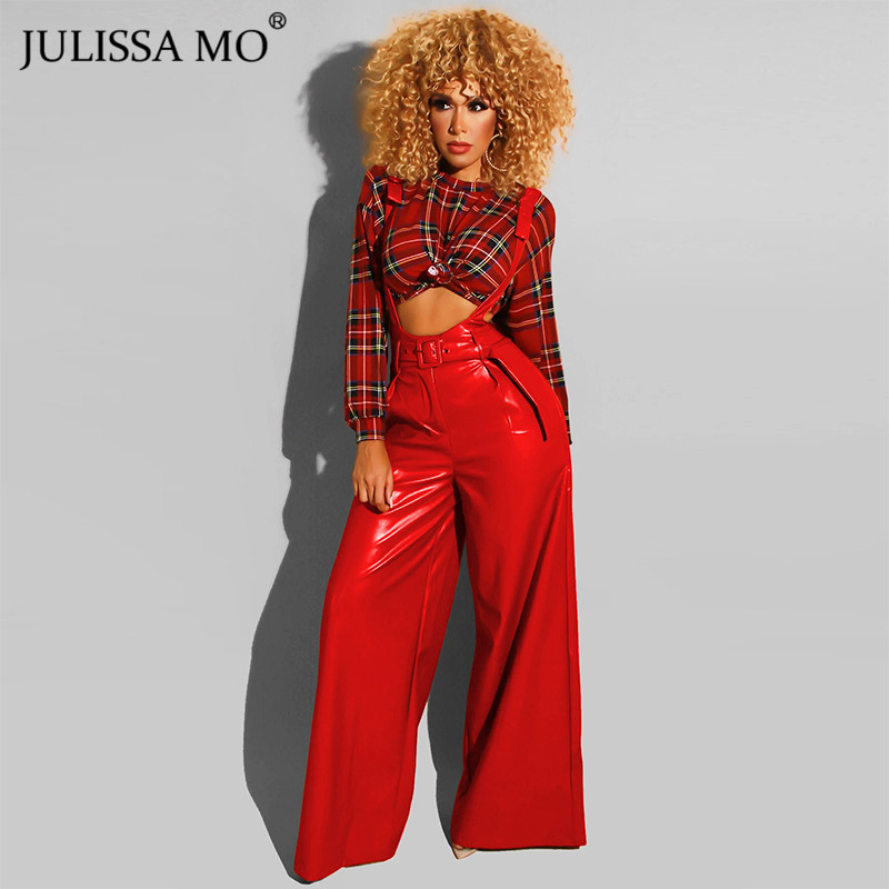 JULISSA MO Red PU Leather Sexy Wide Legs Pants Women Overalls Autumn High Waist Loose Long Pants And Belt Jumpsuit Trousers 2019