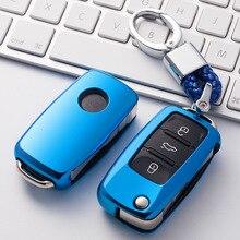 TPU araba anahtarı durumda oto anahtar koruma kapağı VW yeni Passat Lavida Tiguan araç tutucu kabuk renkli araba styling aksesuarları