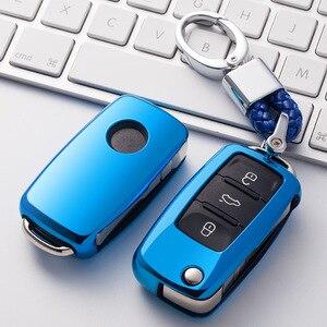 Image 1 - TPU araba anahtarı durumda oto anahtar koruma kapağı VW yeni Passat Lavida Tiguan araç tutucu kabuk renkli araba styling aksesuarları