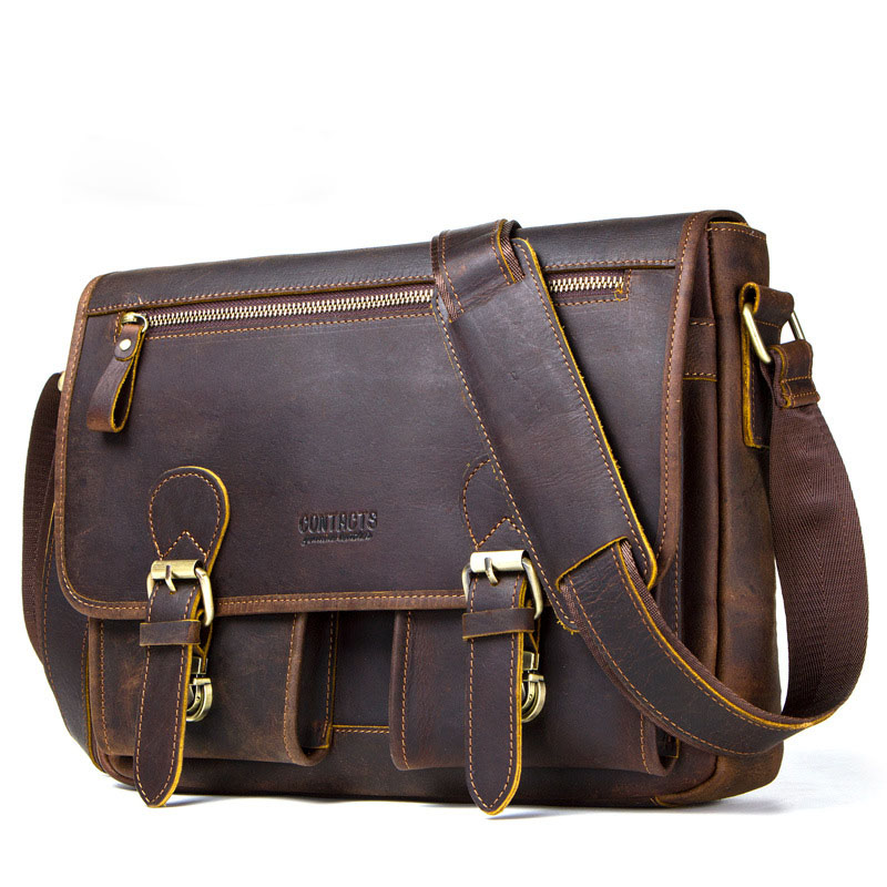 Crazy Horse 100% Genuine Leather Briefcases For Document Totes Messenger Bag Men Shoulder Bags Business Men Briefcase Laptop Bag