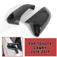 pcmos Carbon Fiber Gloss Black ox Horn Rear view Mirror Cover Trim For Toyota 2018 2019 Camry Auto Exterior Stickers Parts New