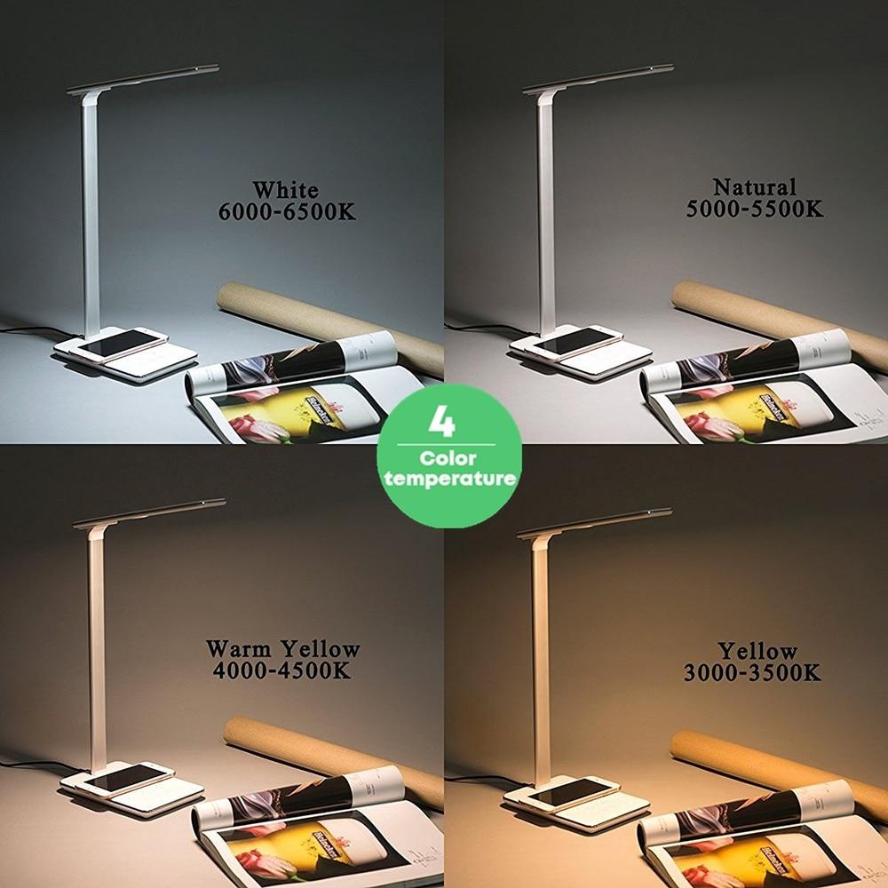 Image 5 - Leise lampe Qi chargeur sans fil pour iPhone XS Max X pliable Table poste de travail de bureau lumière LED rapide sans fil chargeur pour Samsung    -