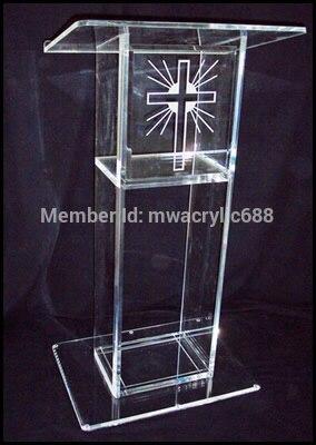 Free Shipping Popularity  Beautiful Cheap Clear Acrylic Lectern Church Pedestal Pulpit Plexiglass