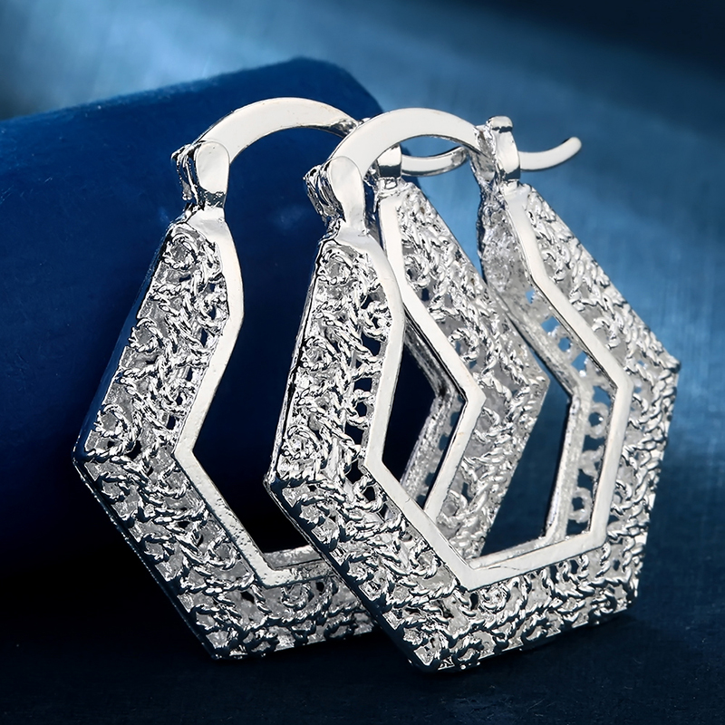 Classic Women Hoop Earring Trendy  Luxury Silver Color Earrings Wedding Fashion Jewelry Accessories For Female Christmas Gift