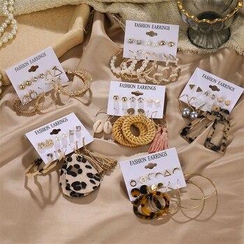 FNIO Vintage Tassel Acrylic Earrings For Women Bohemian Earring Set Big Dangle Drop Earrings for Women 2020 Fashion Jewelry недорого