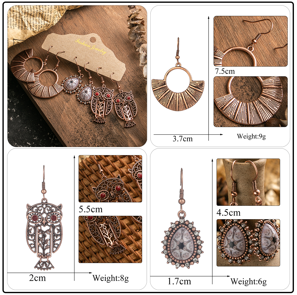 Ethnic Rose Gold Metal Tassel Fringe Womens Earrings Sets Jewelry Bohemia Vintage Round Circle Leaf Butterfly Geometric Drop Earrings Dropshipping Wholesale (5)