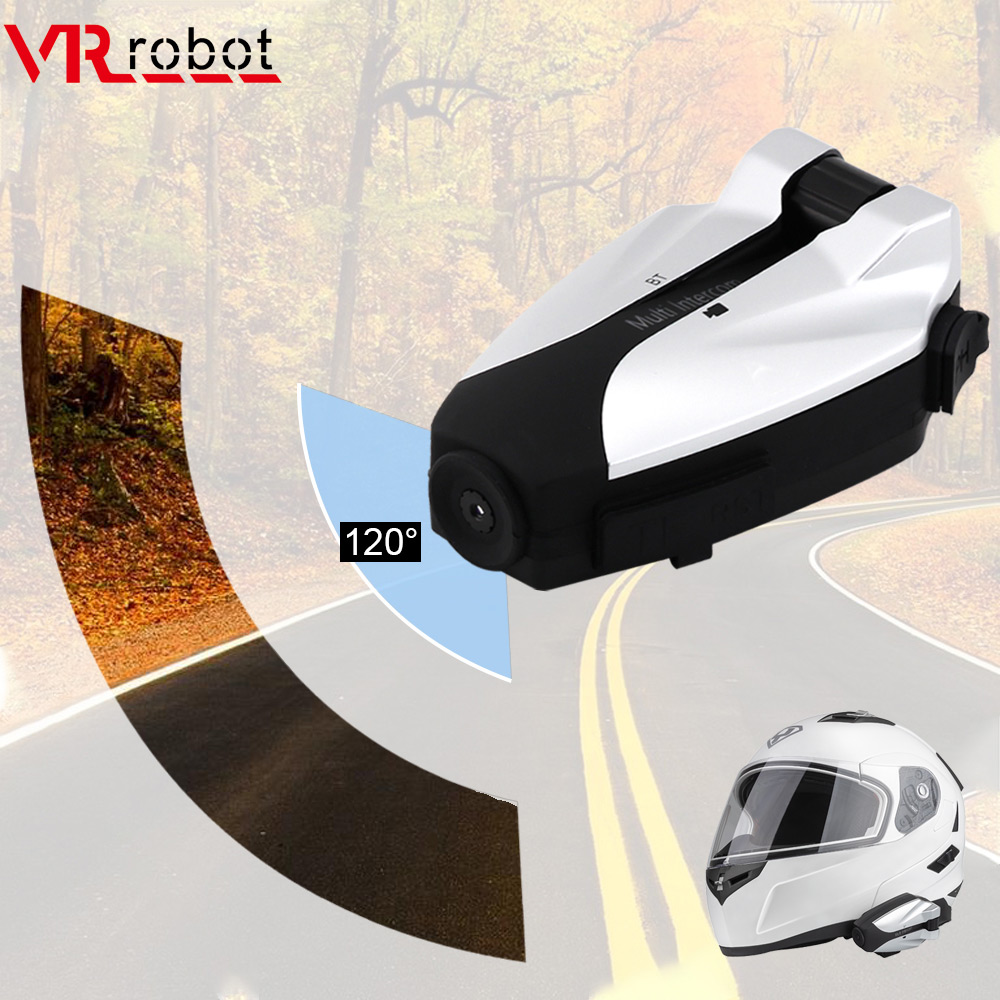 VR Robot Motorcycle Intercom Bluetooth Helmet Headset With HD 720P Camera Recorder For 4 Riders Walkie Talkie