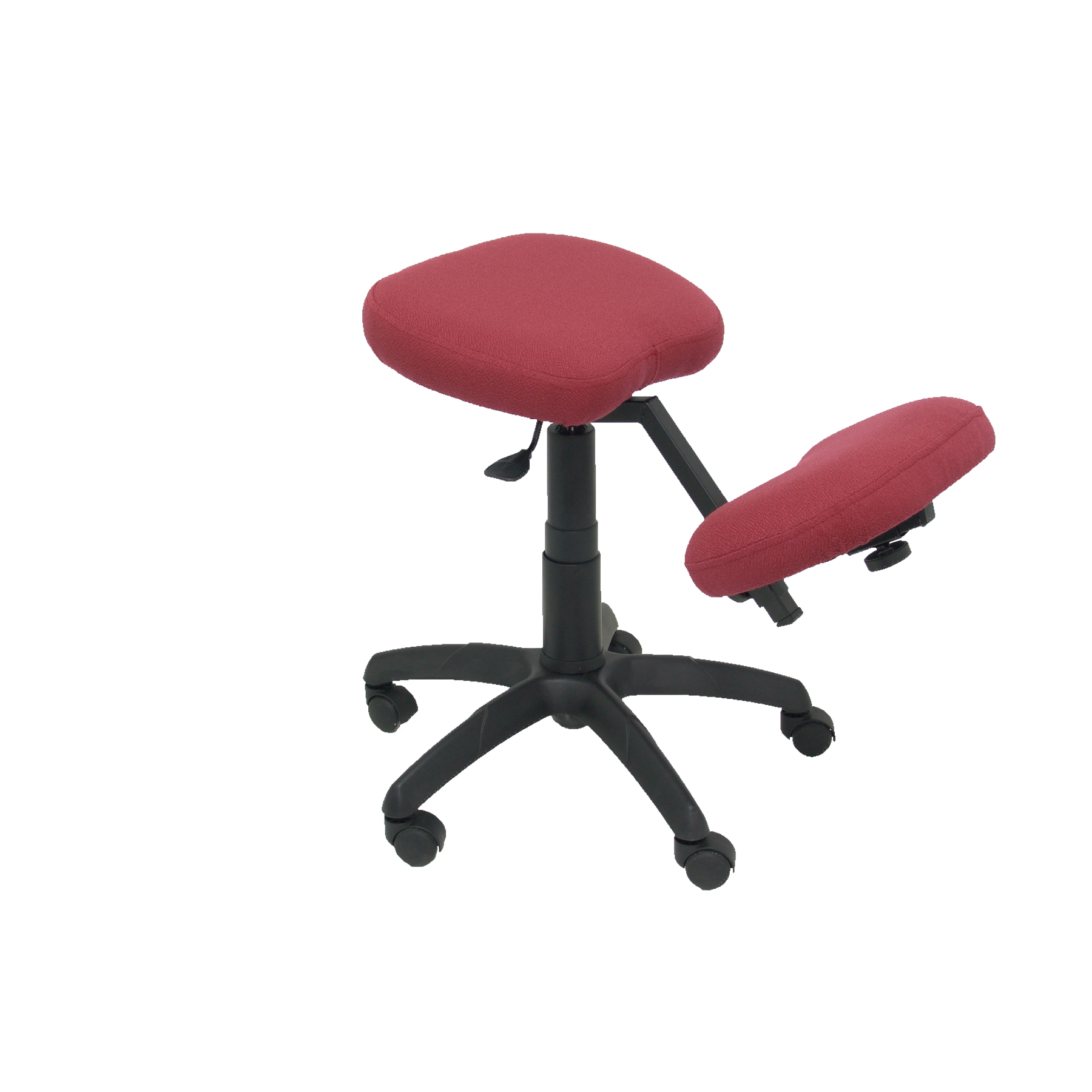 Office's Stool Ergonomic Swivel And Dimmable In High Altitude Up Seat Upholstered In BALI Tissue Maroon Color (RODILLER