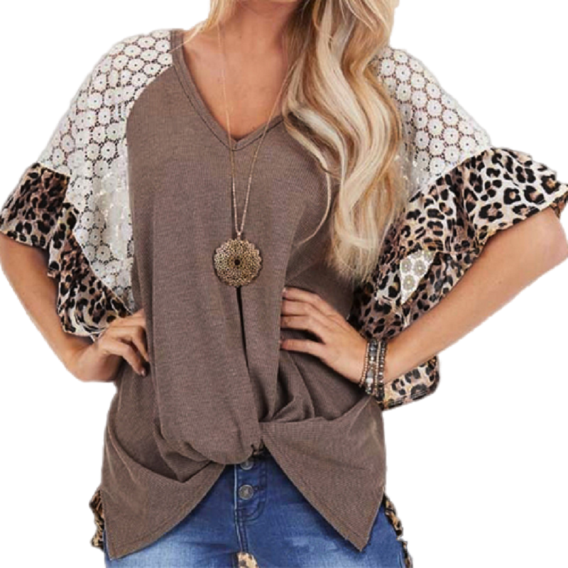 Plus Size Boho Short Sleeve Lace Splice Women's Tops Leopard Ruffled Sleeve Casual Tshirts Summer Bow Twist T-Shirt Femme 2020 image