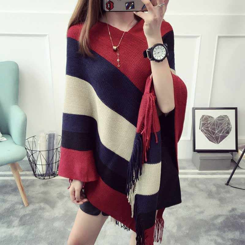 Autumn Spring Women Sweaters Poncho Knitting Capes Cloak Femme Sweater V-Neck Irregular Hem Tassels Coat Loose Knitted Pullovers