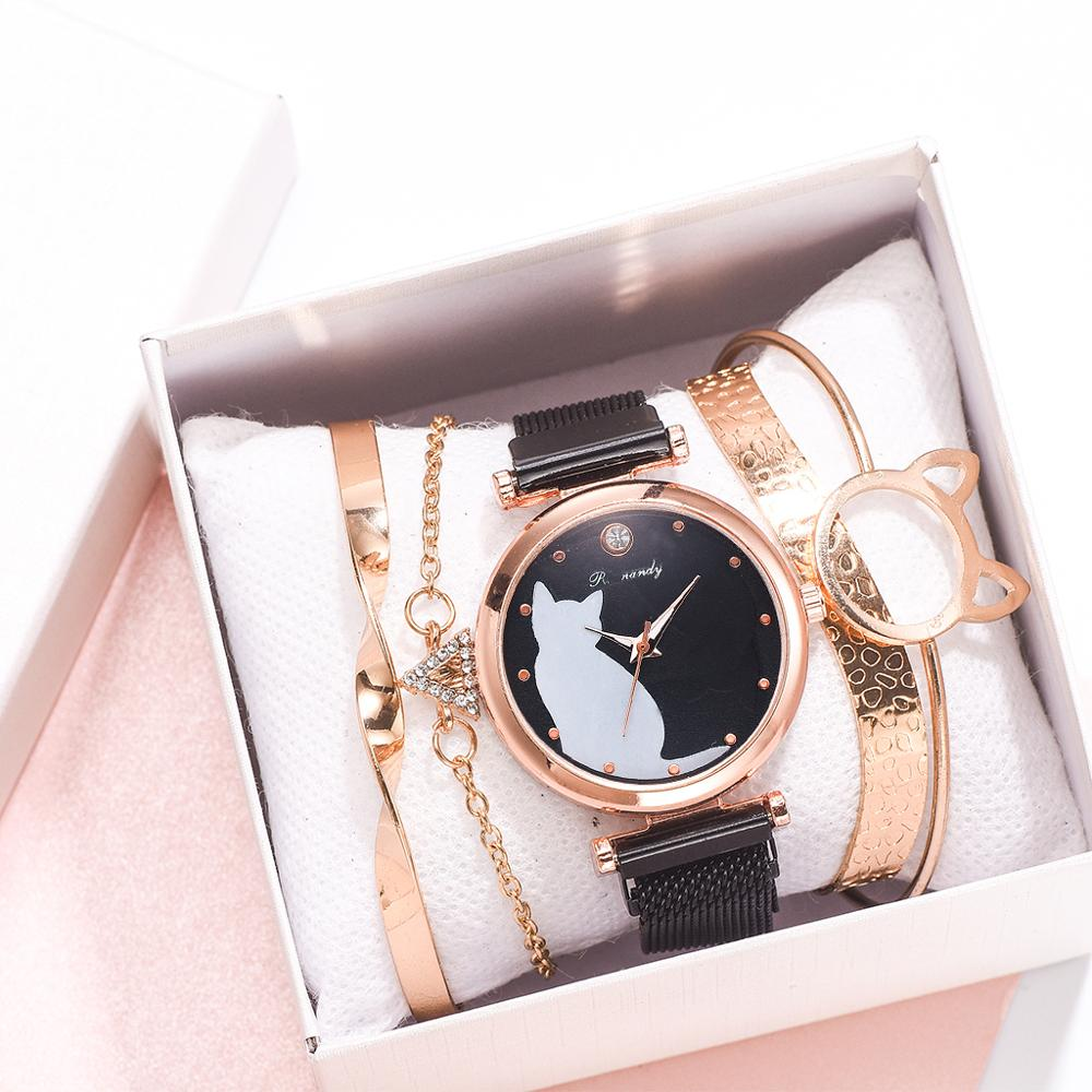 5pcs/set Women Watches Rose Gold Bracelet Set Cat Pattern Black Magnet Watch Ladies Bracelet Wrist Watches Luxury Quartz Clock