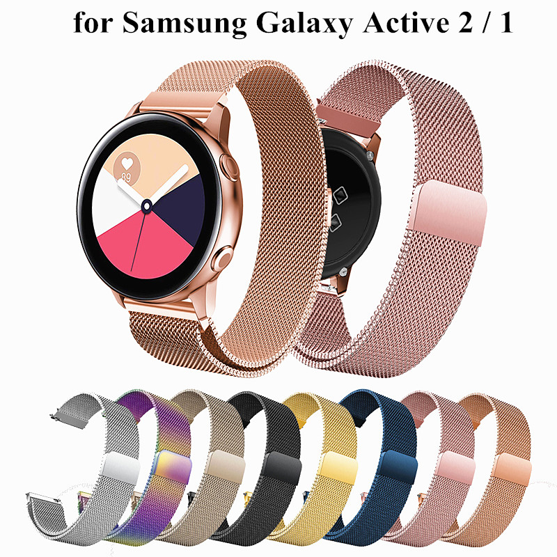 Milanese Loop Bracelet For Samsung Galaxy Watch Active 2 44mm Band Stainless Steel 20mm For Galaxy Active 2 Strap 40mm Case