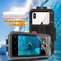 60M/195ft Underwater Phone Case For Xs Max 11 Pro Max 2019 Waterproof Mobile Phone Protective Cover With EVA Bag 1pcs