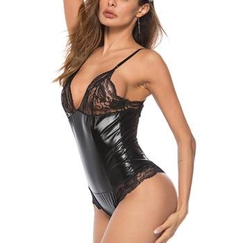 Plus Size Lace Leather Bodysuits  3