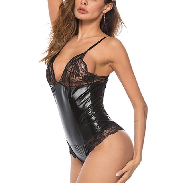New Black Women Bodysuits Lingerie Plus Size XXXXL Lace Leather Sexy Siamese Sexy Underwear Sleepwear Seamless Teddies Latex 4