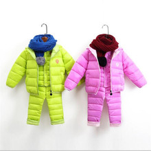 3-piece Kids Outerwear Boys Girls Down Jacket New Year's Costumes For Boys Warm Baby Child Fur Hooded Coat Clothing(China)