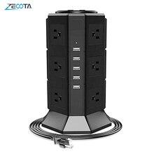 عمودي قطاع الطاقة برج عرام حامي 8/12 طريقة الولايات المتحدة التوصيل الكهربائي منافذ USB شاحن 6.5ft تمديد الحبل لمكتب المنزل