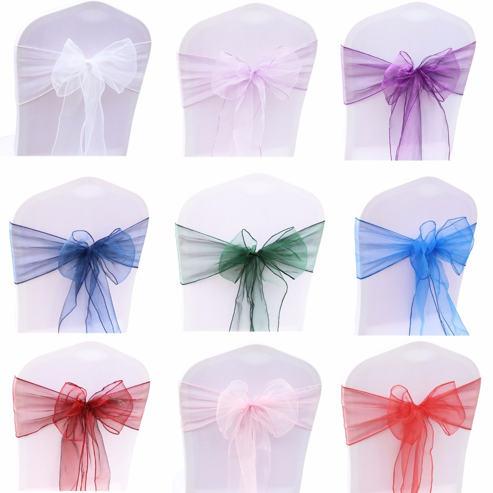 100pcs Organza Chair Sash Bow For Cover Banquet Wedding Party Event Chrismas Decoration Sheer Organza Fabric Supply 18cmx275cm