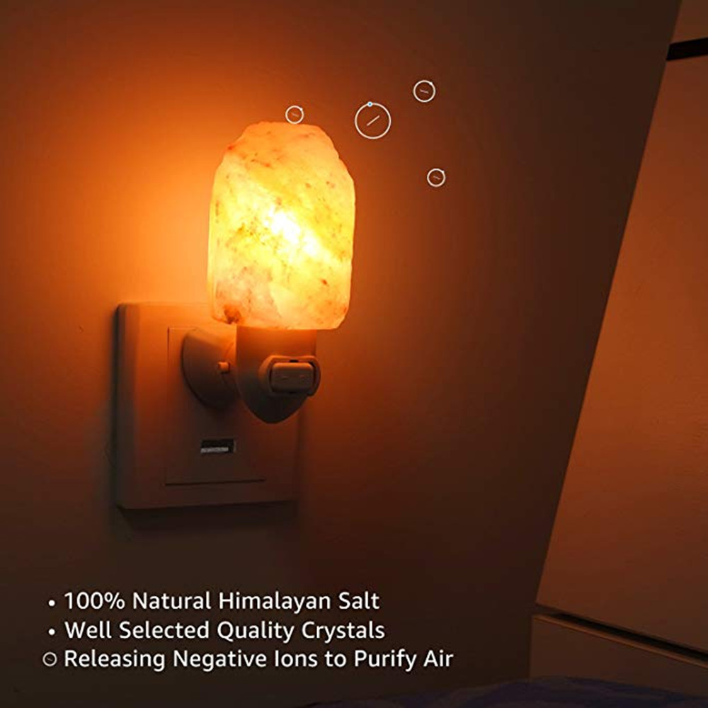 Himalayan Warm white Salt Lamp Natural Crystal Hand Carved Night Light Home Decor  Air Purifying with Plug Release negative ions