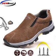 Модная рабочая обувь со стальным носком; мужские летние дышащие слипоны; повседневные ботинки; мужские кроссовки с защитой от проколов