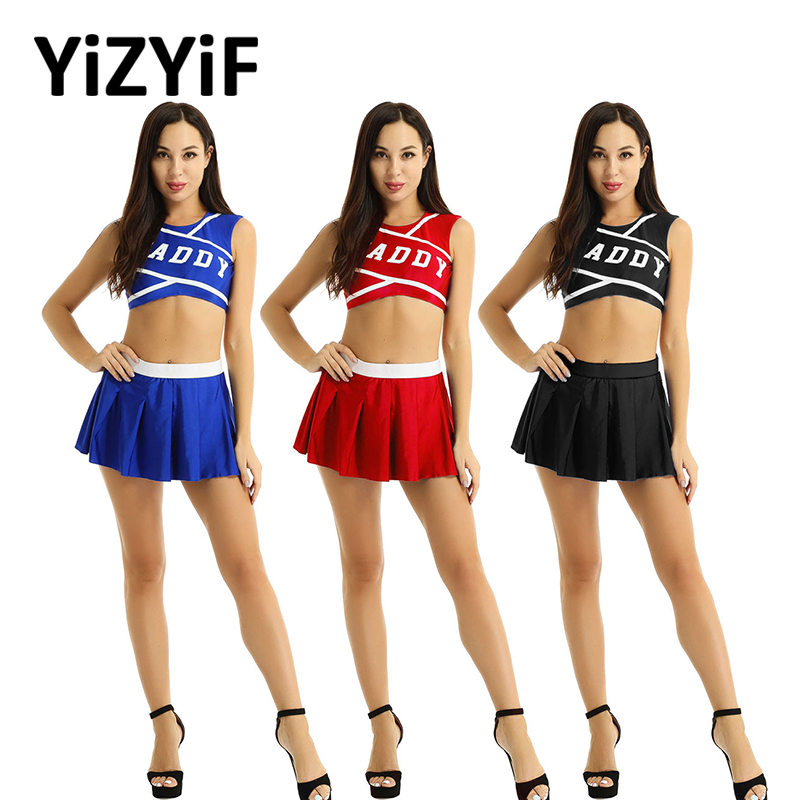 Women Cheerleader Costume School Girl Sexy Cosplay Costume Rave Outfits Round Neck Sleeveless Crop Top With Mini Pleated Skirt