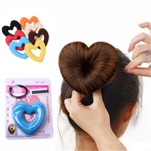 1 Set Fashion Heart Shape Hair Styling Tool Hair Bands For Women Girls Sponge Bract Head Meatball Ring Donut Hair Accessories(China)