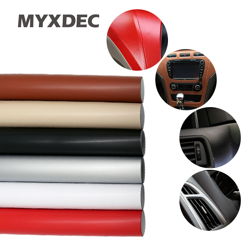 Car Decoration Sticker 100*30cm Leather Pattern PVC Adhesive Vinyl Film Stickers With Air Free Bubble Black Brown Red Silver