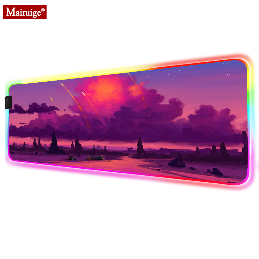 Dark Clouds Sunset Rock Car Rocket LED Mousepad RGB Glow XXL Large Mouse Pad 90x40/70x30cm Gamer Desk Mat for Laptop Table Pads image