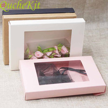 20/50Pcs Multi Color Paper Gift Package&Display Box With Clear PVC Window Wedding Candy Boxes Kraft Paper Gift Packaging Boxes