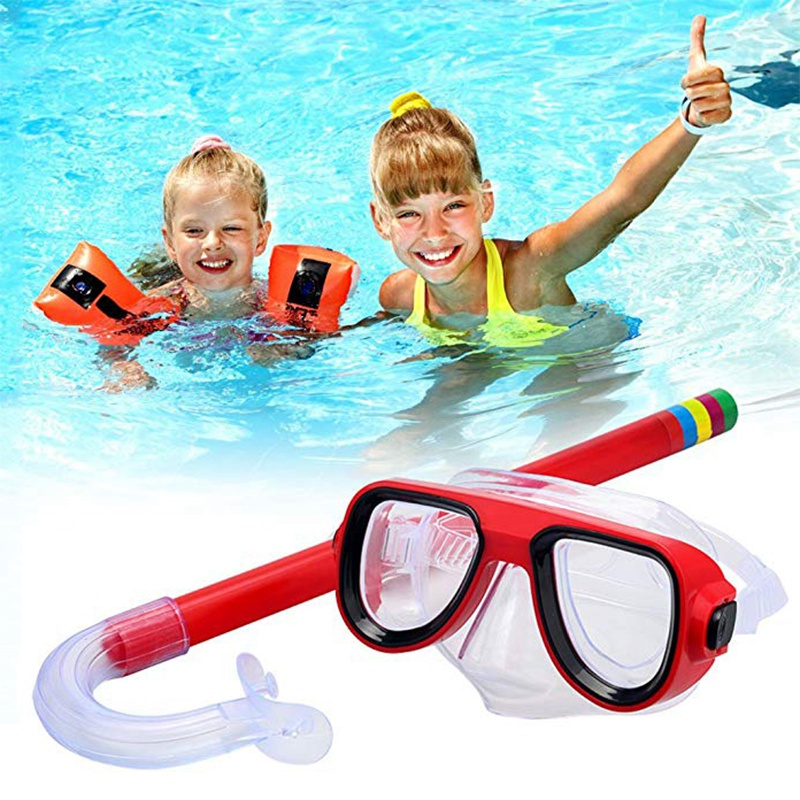 4-Color Professional Kids Diving Goggle Mask Breathing Tube Shockproof Anti-Fog Swimming Glasses Band Snorkeling Glasses Set HS