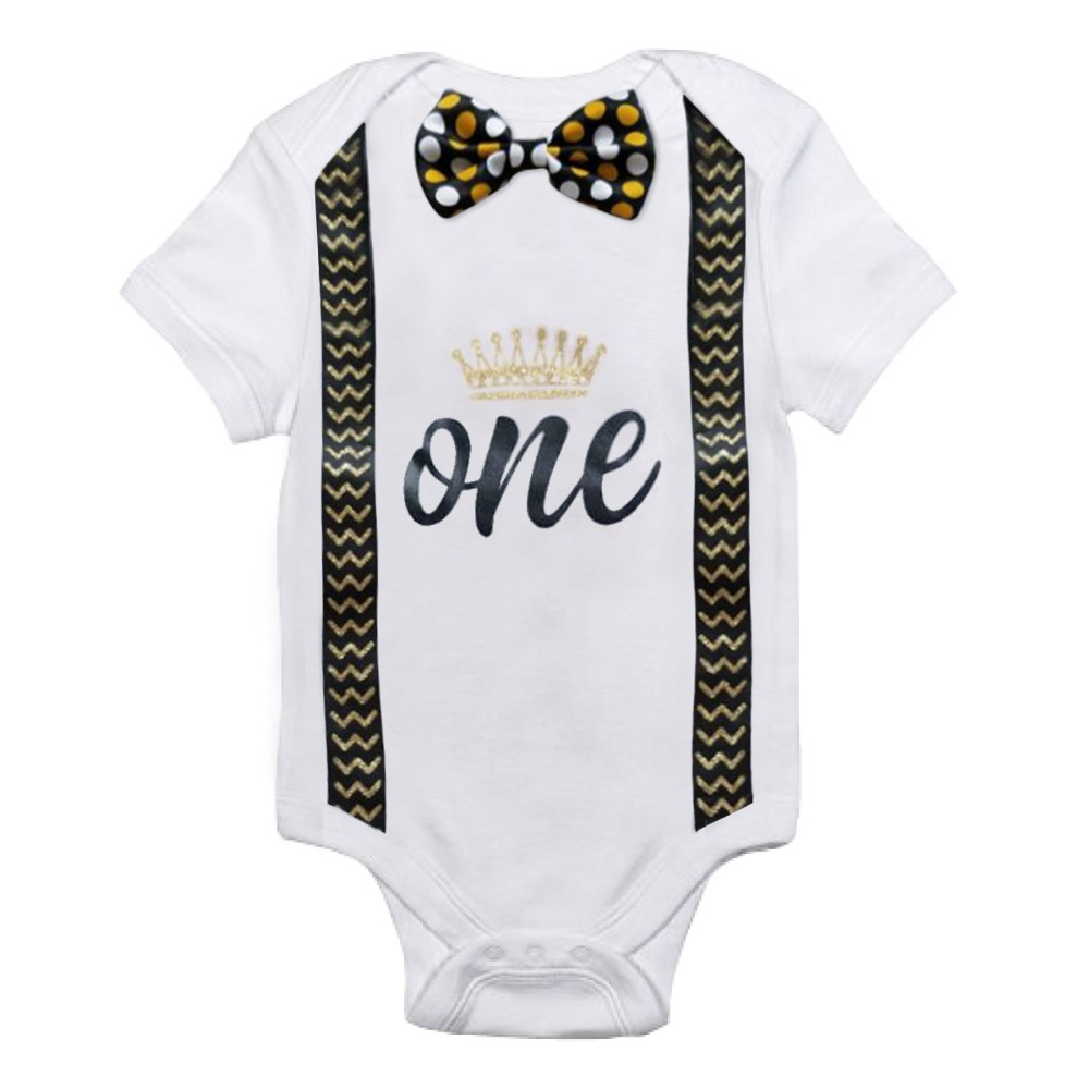 One Size Cotton Baby Boy Rompers Costume Kids Letter Jumpsuits 1st Birthday Outfits Newborn Boys Roupas Baby Clothes 12 Months | Happy Baby Mama