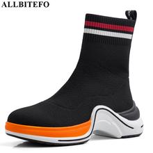 ALLBITEFO new fashion comfortable knitting wool flat heel women boots simple style ankle boots winter pure color girl boots