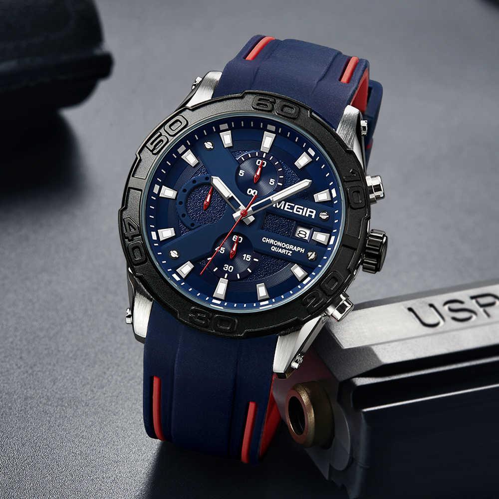 Reloj MEGIR deportivo de moda para hombre, reloj de silicona de la marca Relogio Masculino, reloj militar del ejército, reloj de cuarzo para hombre, reloj de Hora Saat