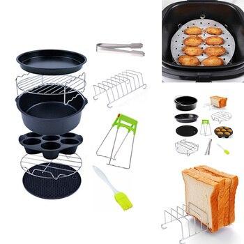 10 Uds accesorios para freidora de aire 6/7/8 pulgadas apto para Airfryer 5,2-6.8QT cesta para hornear Pizza placa parrilla olla cocina herramienta de cocina Nuevo