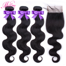 Ms Love Body Wave Human Hair Bundles With Closure Peruvian 3 Lace Non Remy