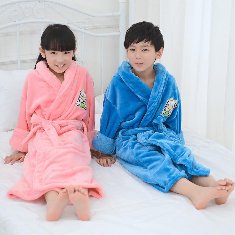 HAILIYUAN Children Thick Flannel Pajamas Bathrobe Cartoon Hooded Men And Women Baby Robe