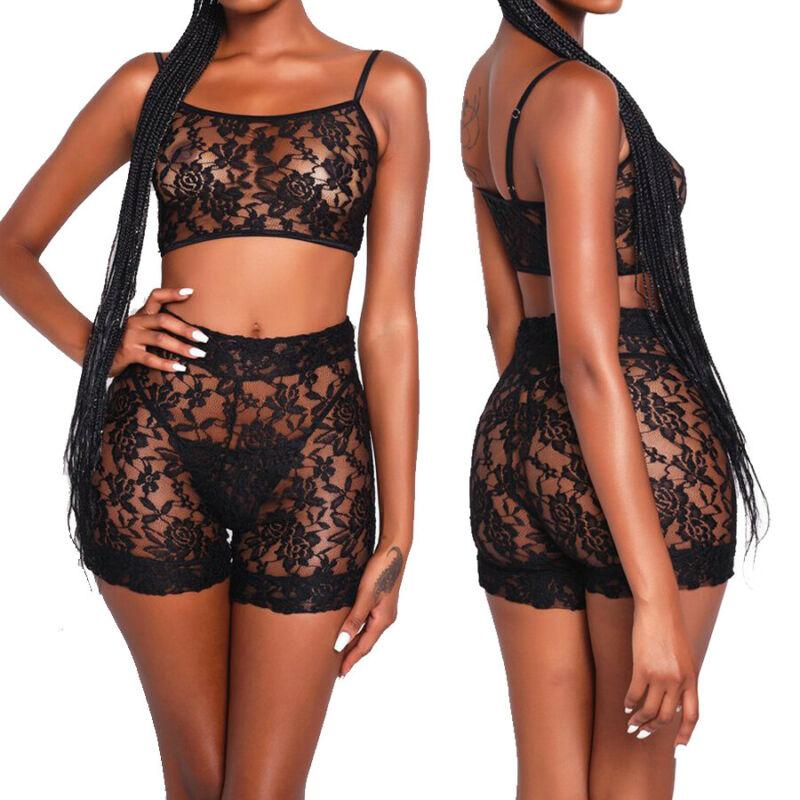 2020 Sexy Women Lingerie Stripper Clothes 2 Pieces Set Micro Bikini Lace Suit Women Underwear Nightwear Exotic Apparel Lingere