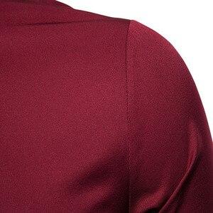 Image 5 - זהב רקמת חולצה גברים 2019 סתיו צווארון עומד חולצות גברים מקרית Slim Fit ארוך שרוול תחתונית Homme Camisa Masculina