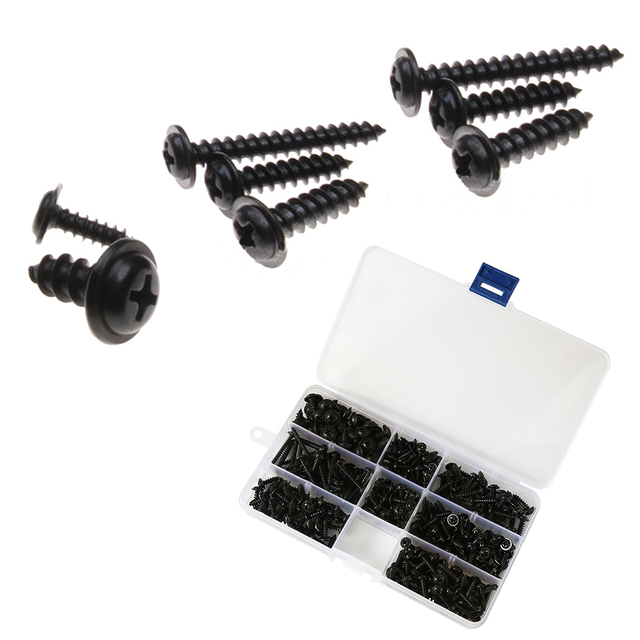 215/340/500pcs Pan Head Tapping Screw Cross Head M3/M4/M4.8 Self Tapping Screw Set Assortment Kit Black Furniture Carbon Steel 4