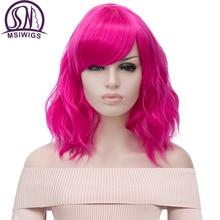 MSIWIGS Короткие Косплей натуральные волнистые парики для женщин красный парик с боковой челкой зеленый синтетический парик термостойкий