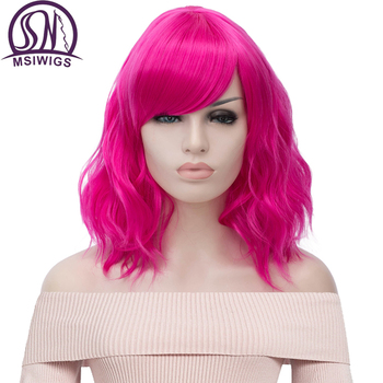 цена на MSIWIGS Short Cosplay Natural Wave Wigs for Women Red Wig with Side Bangs Green Synthetic Hair Wig Heat Resistant