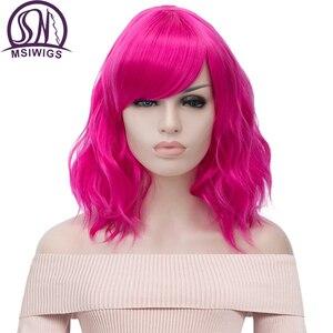 Image 1 - MSIWIGS krótkie Cosplay naturalne fale peruki dla kobiet czerwona peruka z bocznym Bangs zielone włosy syntetyczne peruka żaroodporne