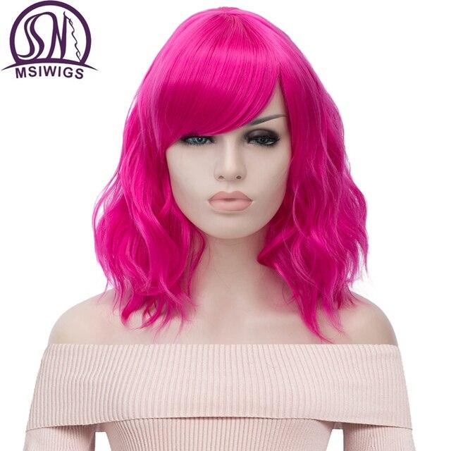 MSIWIGS krótkie Cosplay naturalne fale peruki dla kobiet czerwona peruka z bocznym Bangs zielone włosy syntetyczne peruka żaroodporne