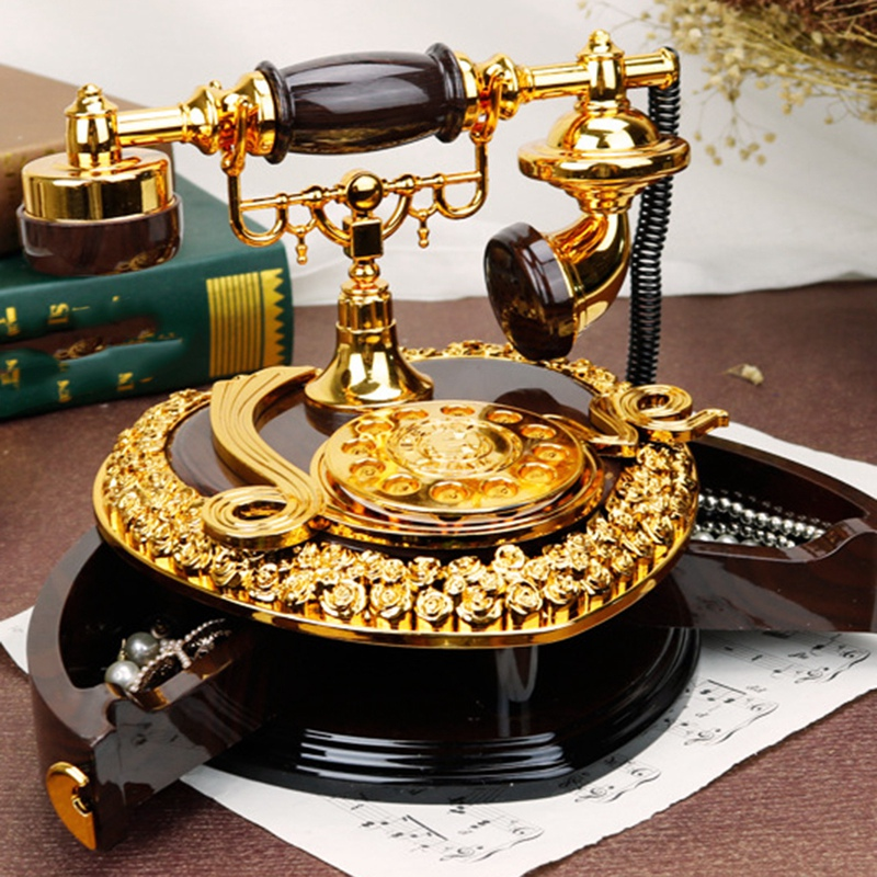 Retro Heart Shaped Telephone Model Music Box Birthday Gift Home Ornament Decoration Antique Carved Wooden Hand Crank Music Box