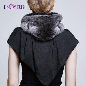 Image 4 - ENJOYFUR gorros de piel de visón genuina para mujer, 100%, bufanda de invierno, sombrero, gorros cálidos elegantes para mujer piel nueva, gorros