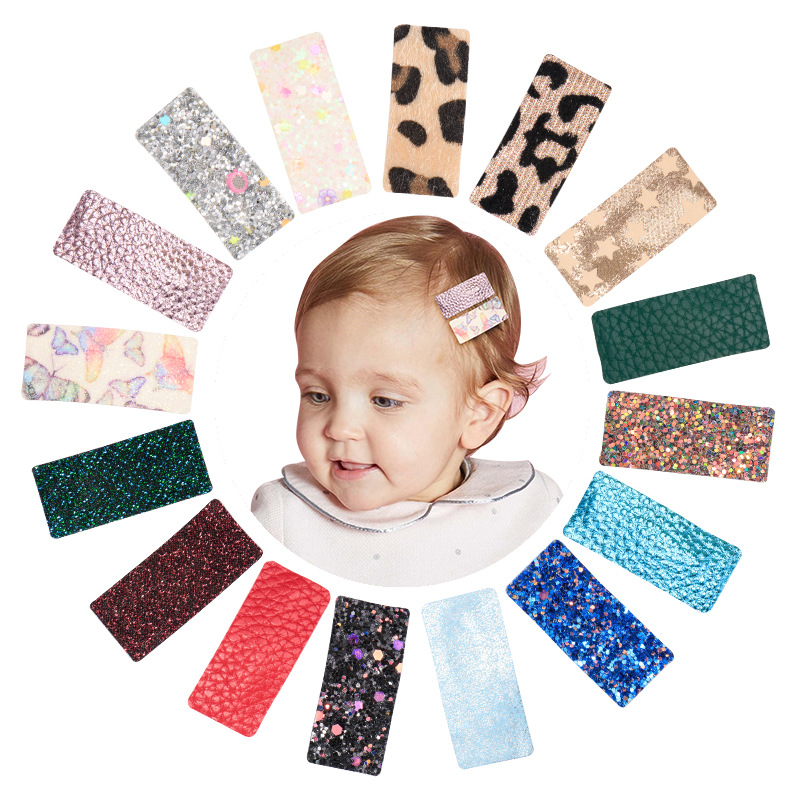 16pcs/Bag Children Baby Snap Hair Clip Leopard Sequin Bangs Hairpins Mix Colors Leather Hairgrip Girls Hair Accessories