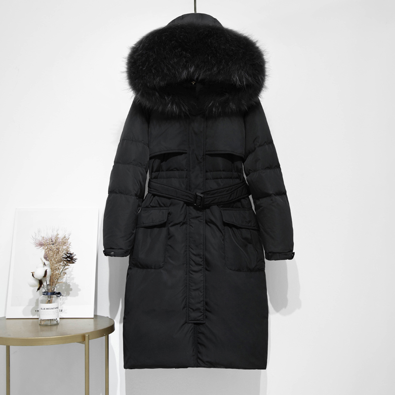 Long White Duck Down Jacket Women Hooded Winter Coat Raccoon Fur Collar Thick Korean Female Jacket 2020 KTL-5260 KJ3723