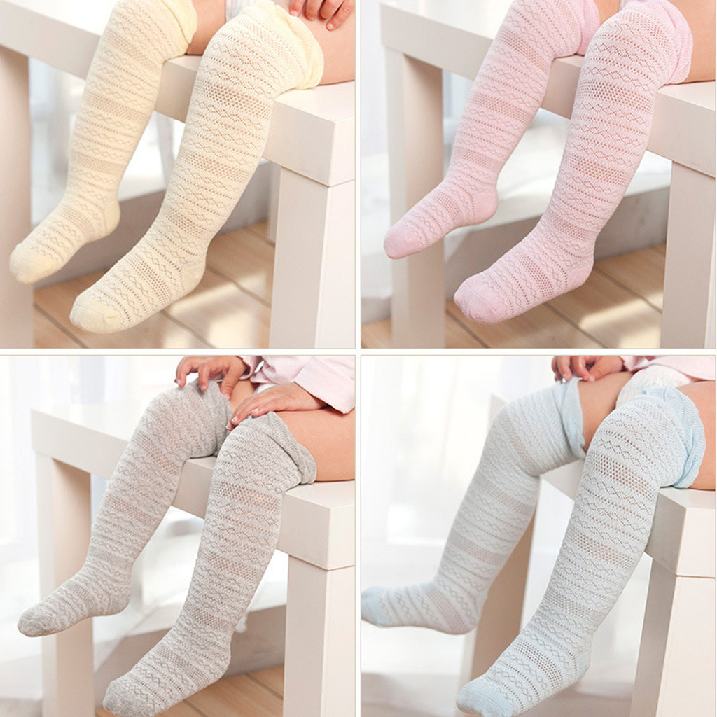 Baby Boys Girls Solid Lace Cotton Warm Pantyhose Solid Candy Color Tight Knee High Antislip Princess Stockings Girls Pantyhose